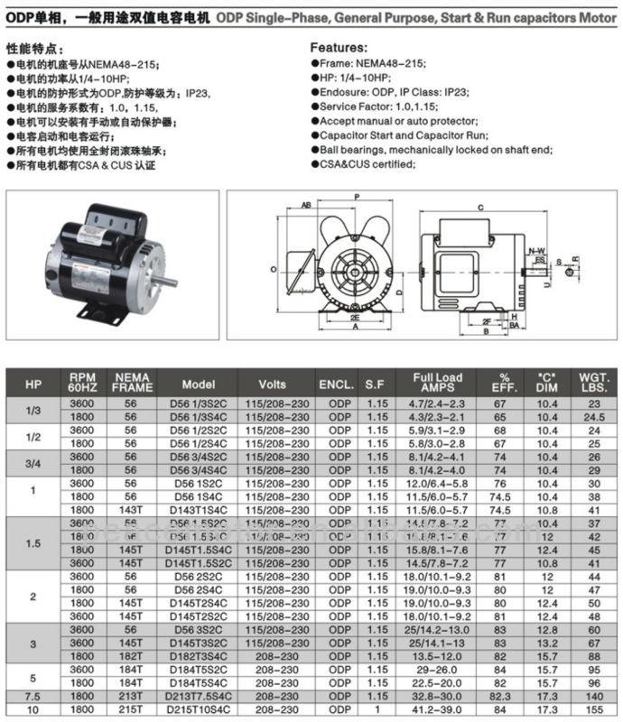 Nema single phase capacitor start and run induction motor for Single phase capacitor start motor