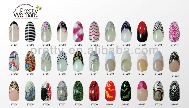 Flower Design Decal Nail Art Tips 24pcs Colorful Stiletto False