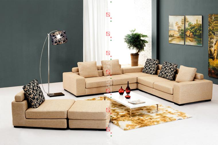 U Shaped Beige Low Price Modern 7 Seater Sofa Set Living