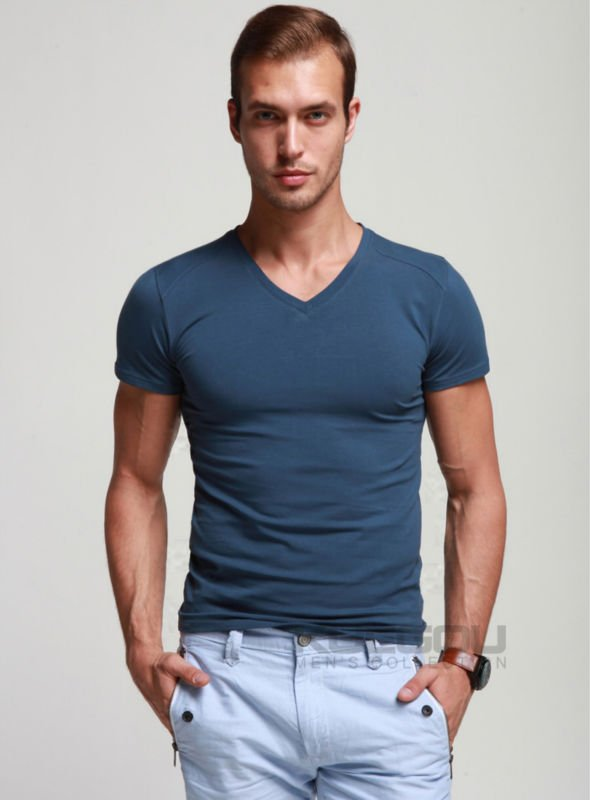 Green V Neck T Shirt Mens