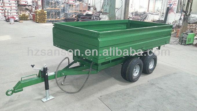 Hydraulic Tractor Dump Trailer With 4wheels 2000kgs Tipper