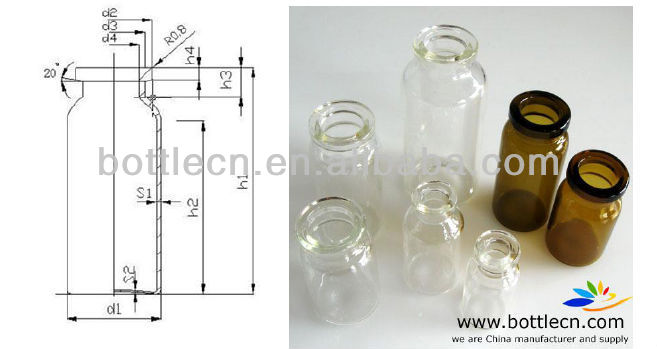 4ml 5ml 10ml pharmaceutical tubing vial glass tubular type 1