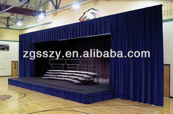Electric Black Velvet Fabric Blackout Church Stage Curtain