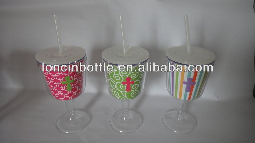 Acrylic Wine Glass With Lid And Straw Double Wall Acrylic Tumbler Bpa Free Wine Plastic Tumbler