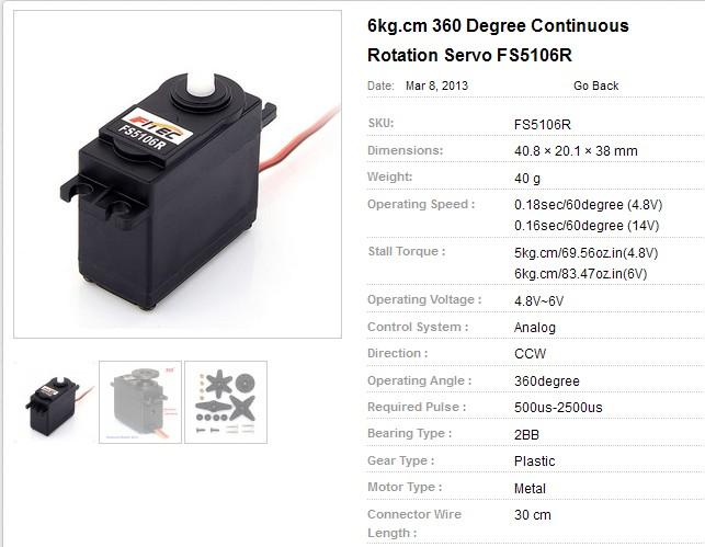 Fitec fs5106r 6kg rc robot servo motor 360 degree servo Servo motor 360 degrees arduino
