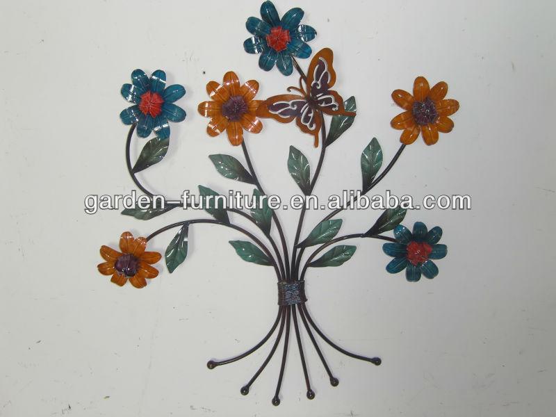Wrought Iron Wall Decor Flowers : Handicraft painted metal flower pot wrought iron wall