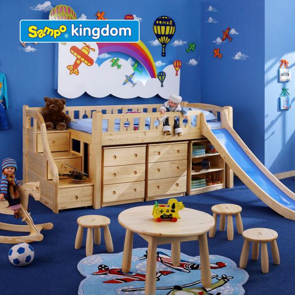 funny bunk bed storage bed wooden loft bed with slide for kids view kids loft beds sampo. Black Bedroom Furniture Sets. Home Design Ideas