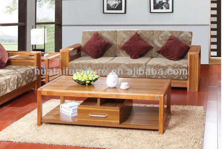 Living room fabric furniture sofa living room furniture for Wood sofa designs for living room