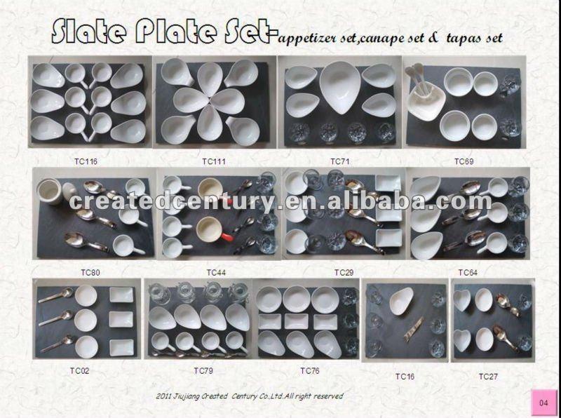 Natural slate plate canape set buy slate plate canape for Canape plate sets