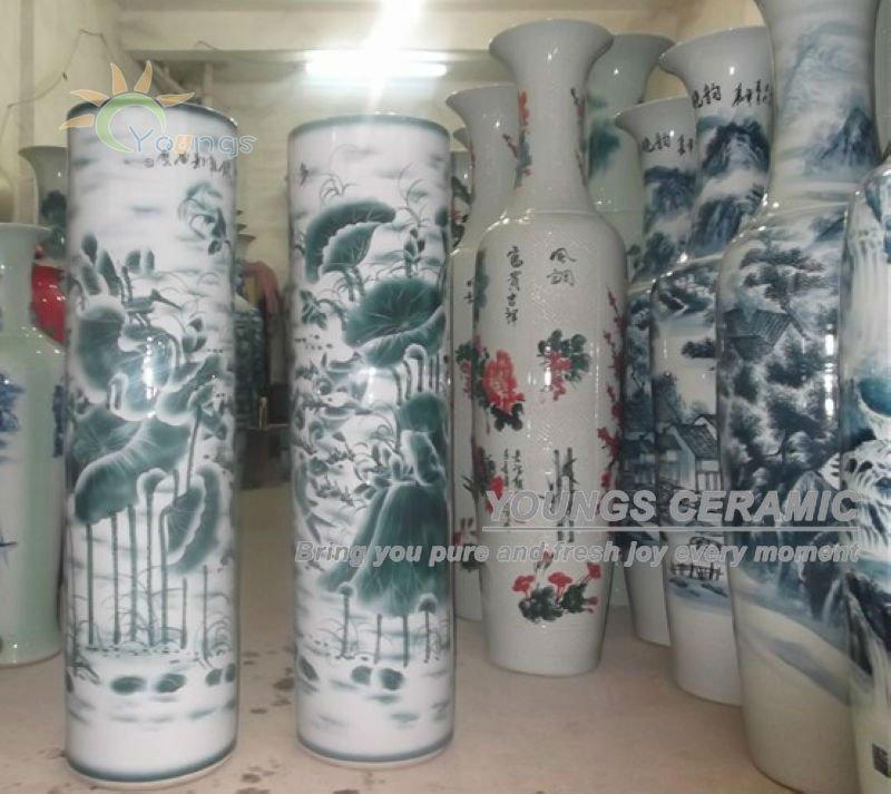 H120cm Hand Painted Lotus Large Chinese Ceramic Floor