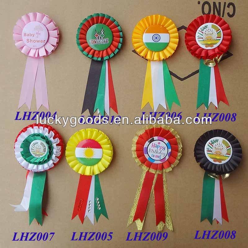 2014 Custom Printing Satin Ribbon Badge Wholesale