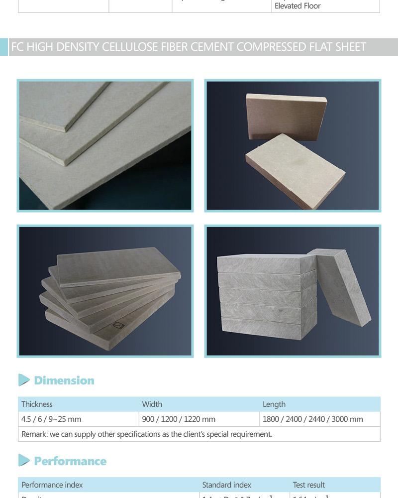 High Density Fiber Cement Sheeting Board Fiber Cement