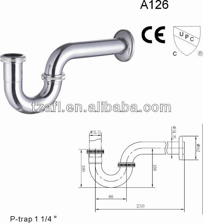 Cupc brass p trap 1 1 4 39 39 view cupc p trap aifeiling for Bathroom p trap size