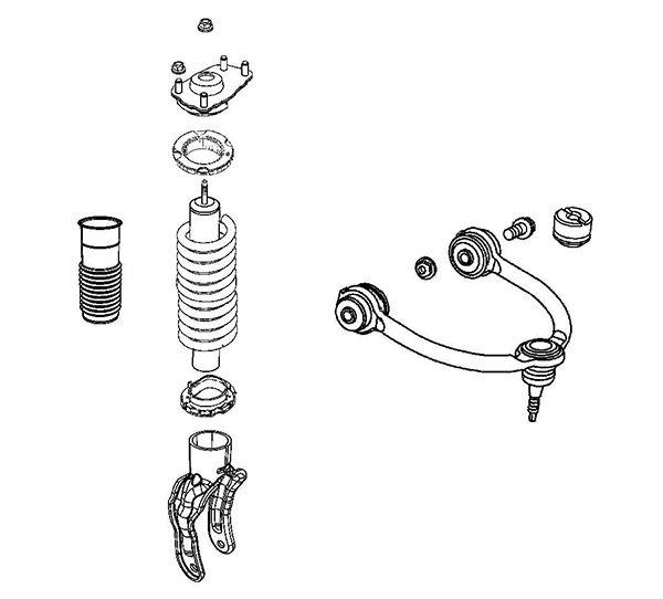 front suspension damper parts gas filled shock absorber   strut repair kit 68069662ab for jeep