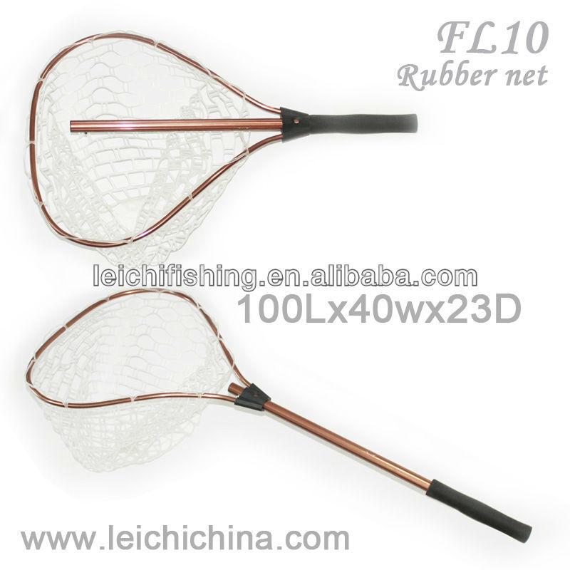 Aluminum extendable handle rubber fish landing nets buy for Extendable fishing net