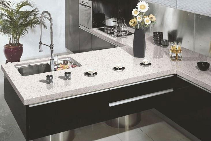 Starlight white quartz artificial stone slabs for kitchen - Losas para cocina ...