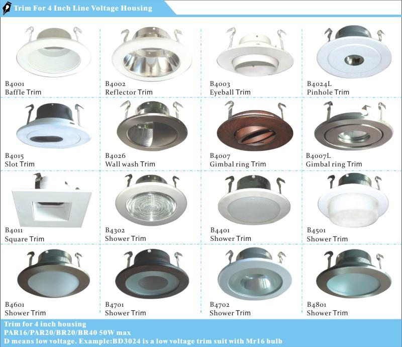 Waterproof 4 Inch Round Ring Shower Recessed Light Trim