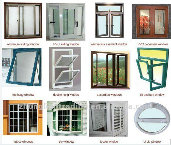 French type interior bathroom sliding glass pvc window for Types of window panes