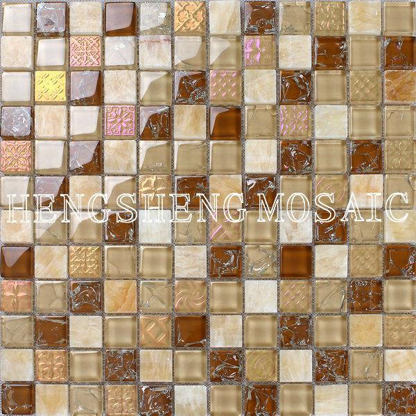 Beige colore crackle pietra mix di vetro mosaico piastrelle cucina a buon mercato muro del bagno - Piastrelle di vetro ...