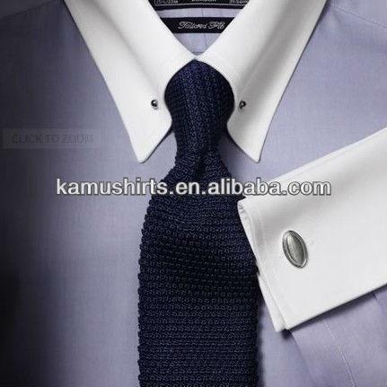 Slim Fit Pin Collar Shirts For Men French Cuff Dress Shirt