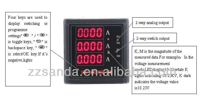 dc analog output ammeter alarm  relay output digital ampere