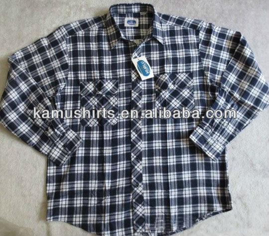Mens Checks Cotton Flannel Shirts Stock Cheap Wholesale