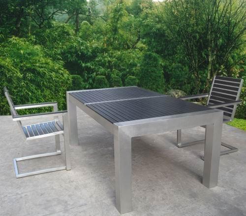 Outdoor Plastic Wood Top Stainless Steel Furniture Buy