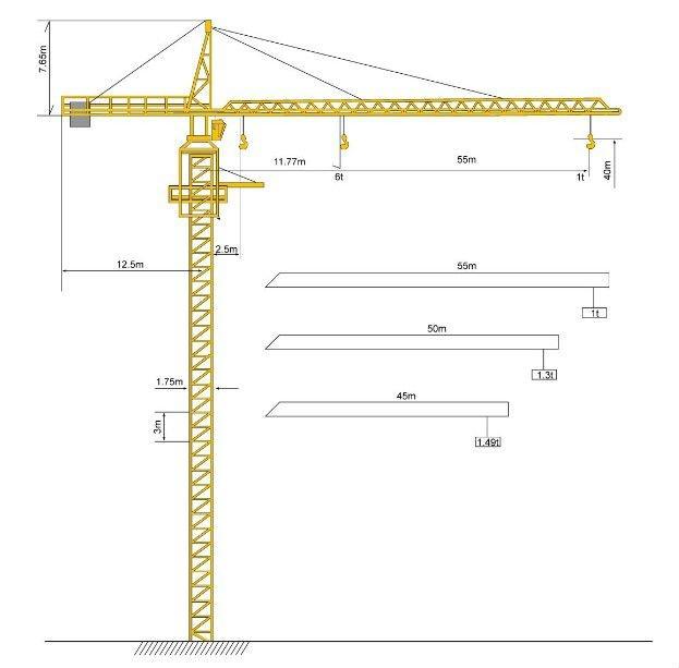 Tower Crane Sizes : Tons tower crane buy jianglu top kit