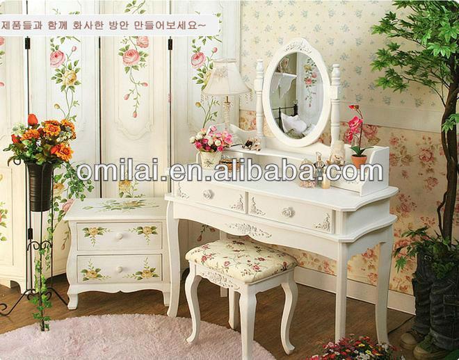Moderni in legno francese tavolo da toeletta con specchio e