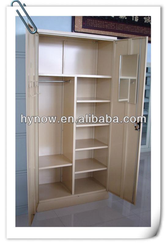 Two Door Steel Furniture Wood Grain Wardrobe Door Designs