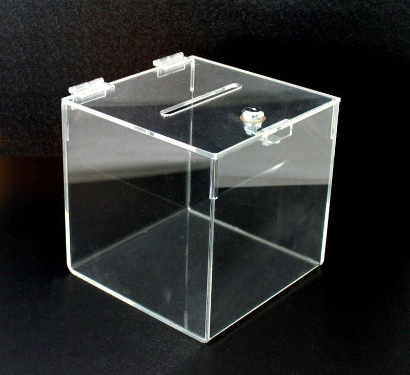 Acrylic Boxes Custom Made : Acrylic slatwall display lock bin box stand holder rack
