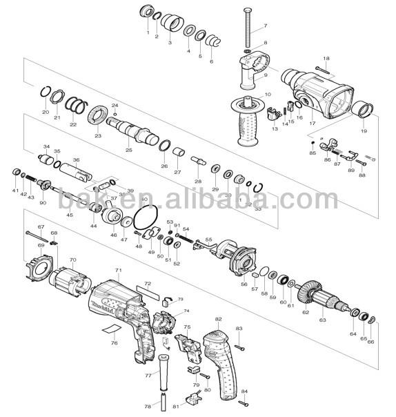 makita hr2470f 15  16 u0026quot  led light rotary hammer parts impact