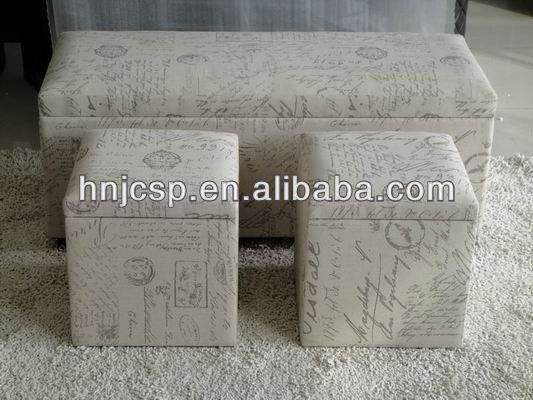 Set of 2 round storage ottoman, round storage stool set in fabric , linen  ottoman - Set Of 2 Round Storage Ottoman, Round Storage Stool Set In Fabric