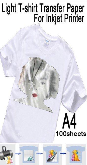 Hot sale light t shirt heat transfer printing paper for for Best quality t shirt transfer paper