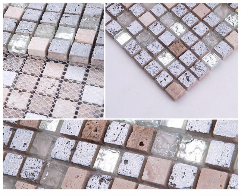 Hf Jtc-1314 Travertine Tile Mix Glass Mosaic Wall Tiles For Living ...