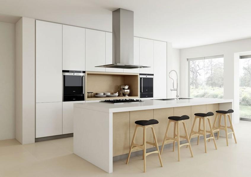Bevel Edge White High Gloss Painted Finish Kitchen Cabinet
