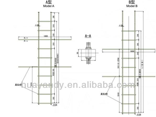 Highest quality marine folding pilot rope ladder for sale view pilot rope ladder huayan for Partes de una escalera