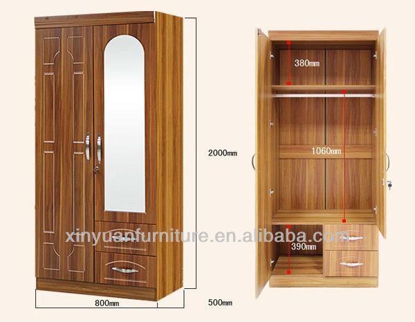 W982-43 classic 2 door wooden locker mirror clothes wardrobes ...