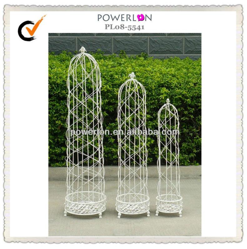Garden wrought iron patio white metal plant trellis cheap - Treillis metal jardin ...