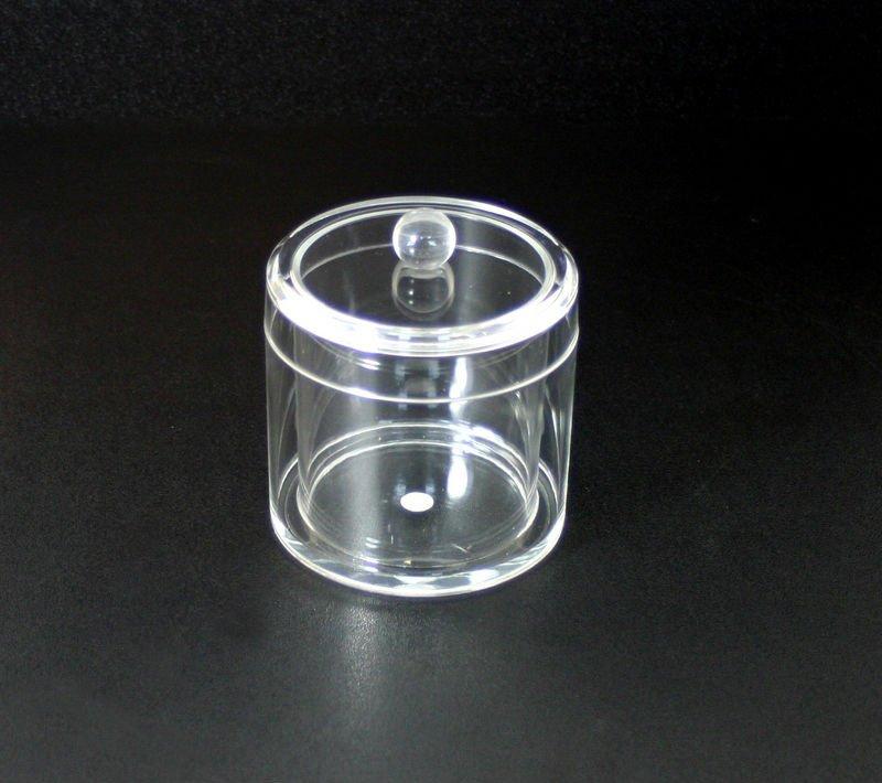 Clear cotton ball q tip holder canister dispenser buy for Bathroom q tip holder