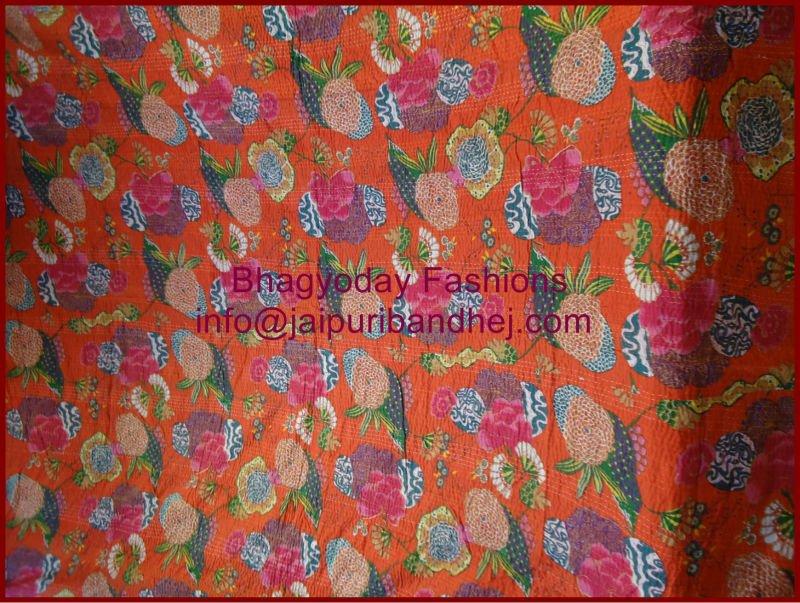 Vintage Style Kantha Ralli Quilt Thrown Antique Bohemian