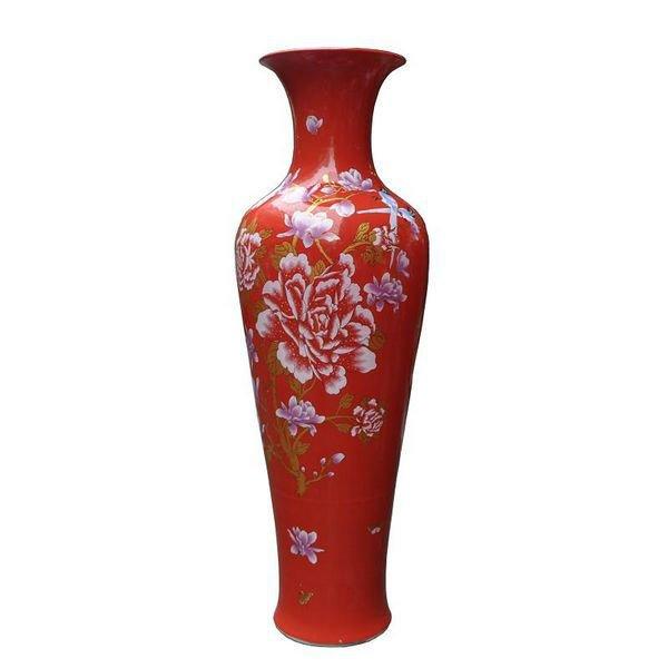 Large Red Porcelain Yulan Magnolia Floor Vase For Indoor