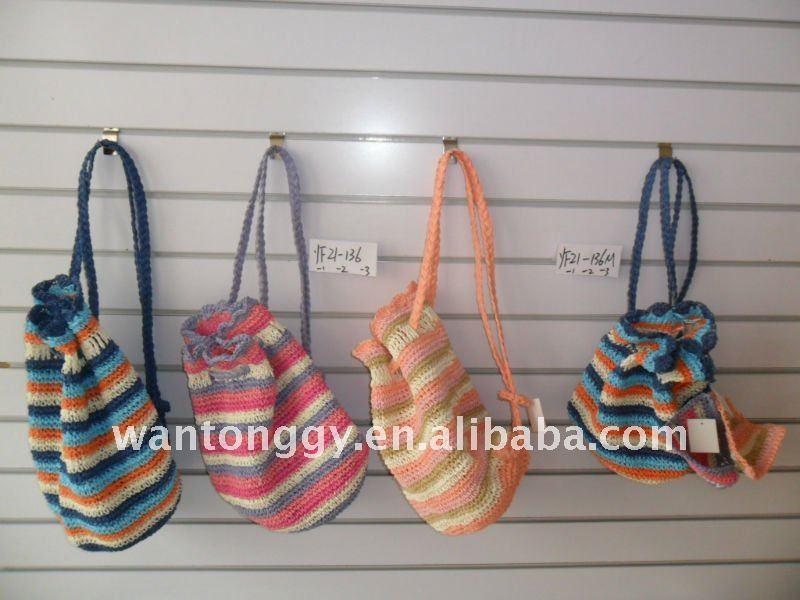 Bolsa De Mão Em Crochet : Fashion crochet paper straw backpack bag buy