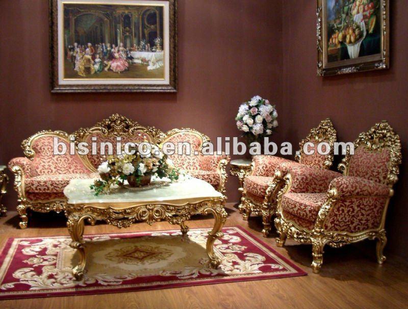 24k gold plated european stylel wooden living room furniture sofa set