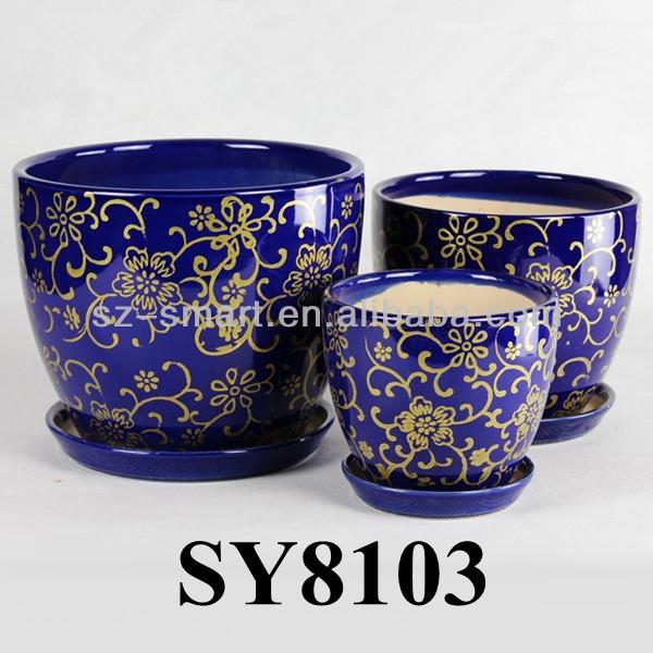 Royal blue glazed indoor decorative flower pots planters, View ...