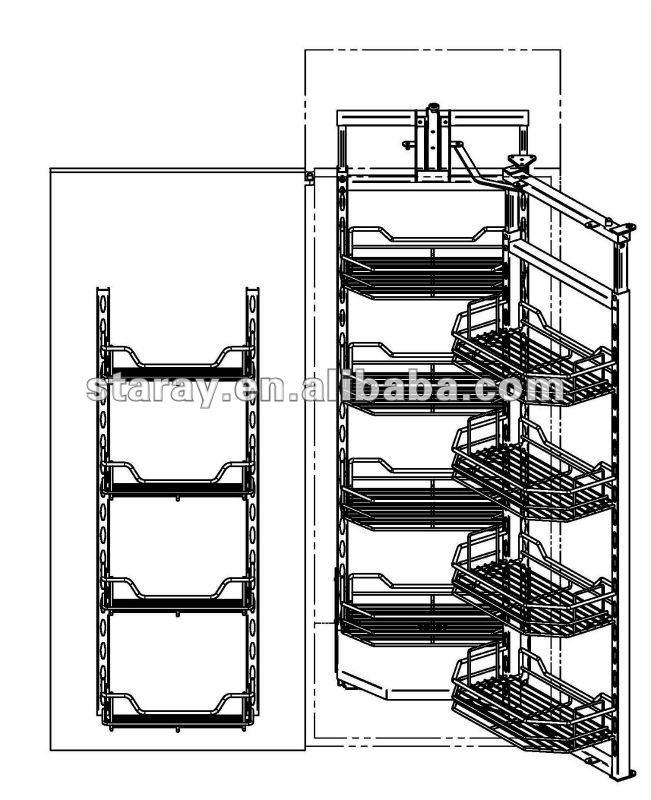 Hpj832 Kitchen Chrome Pull Out Pantry Unit Sliding Basket