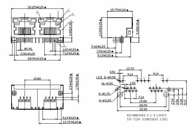 1 4 port 6p6c  6p4c  6p2c modular rj11 jack