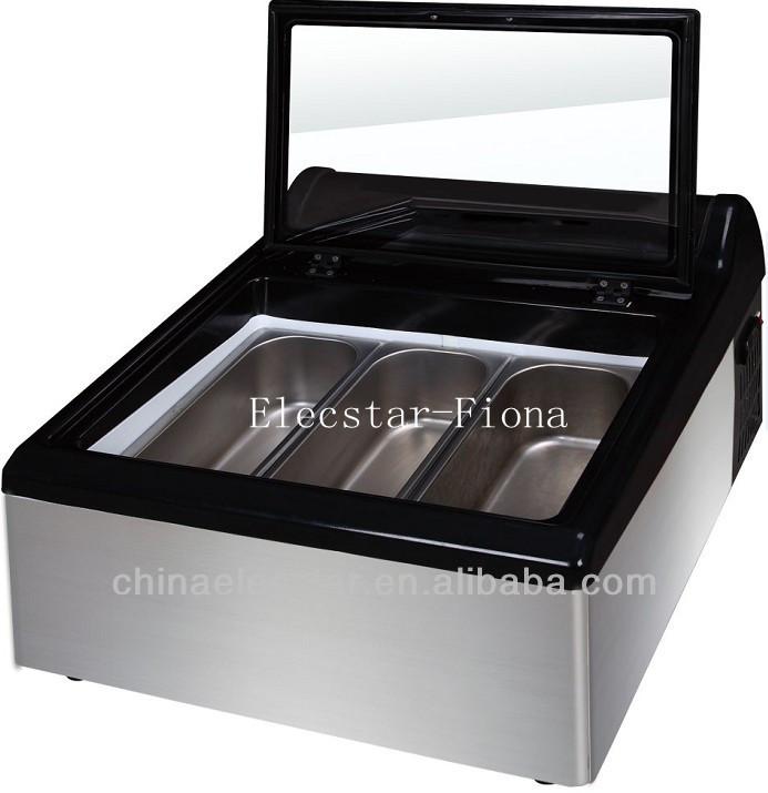 Table Top Ice Cream Freezer Illuminated By Efficient Led