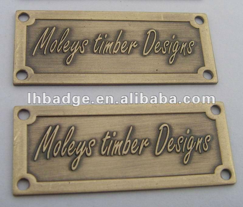 brass name platemetal furniture logovintage metal