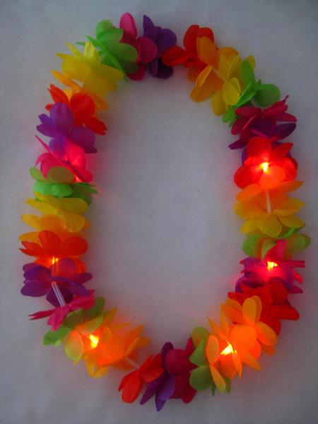hawaiian flower lei garland 4 led lighting silk flower leis led